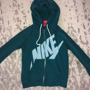 Nike Blue Colorblock Logo Zip Up Hoodie Sweatshirt
